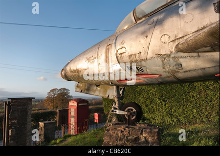 A 1950's Supermarine Swift F Mk 4 jet fighter, owned by Sheppard's surplus stores in Herefordshire, UK - Stock Photo