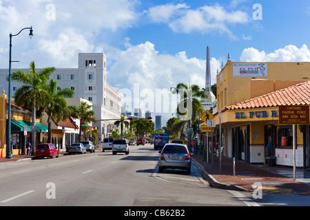 Calle Ocho (SW 8th Street) in Little Havana, Miami, Florida, USA - Stock Photo