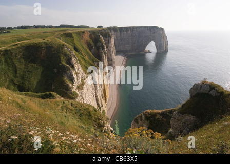 Elk196-1274 France, Normandy, Etretat, town where Monet painted, Falaise d'Aval, Manneporte Arch - Stock Photo