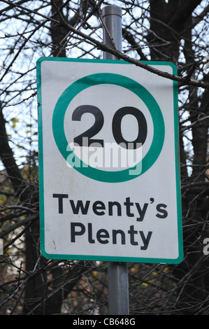 Road speed limit sign - Stock Photo