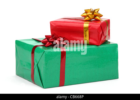 Colorful gift boxes isolated on white. - Stock Photo