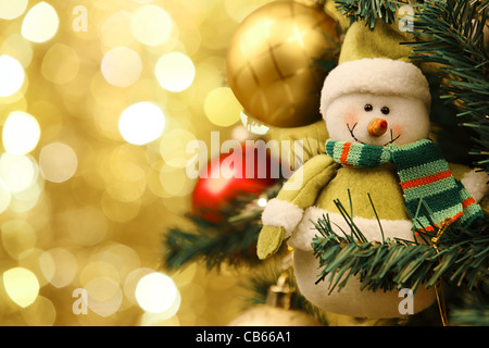 Closeup of Christmas-tree decorations. - Stock Photo