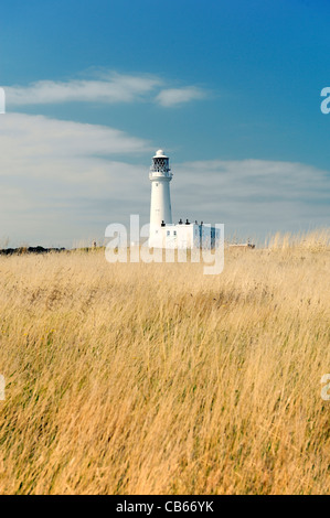 Flamborough Head lighthouse on the North Sea coast of East Yorkshire, England, UK. - Stock Photo