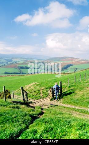 Man walking walker climbing stile on Offas Dyke Path near Discoed, south of Knighton, Powys, Wales. United Kingdom - Stock Photo