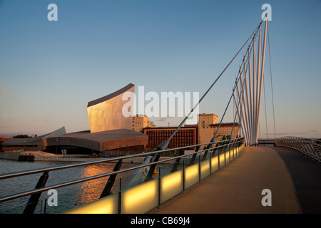 Pedestrian suspension bridge, Salford Quays, Manchester ...