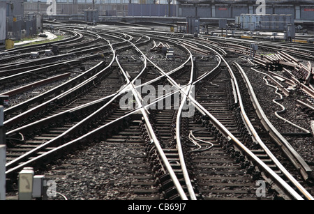 A complex layout of railway Tracks near Waterloo Station, London, UK - Stock Photo