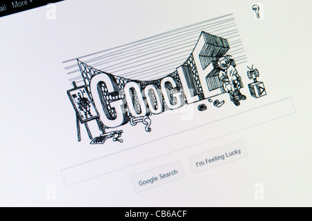 The Google search engine web site front page celebrating 60th anniversary of the publication of the first book by - Stock Photo