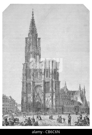 strasburg cathedral Square Our Lady Notre Dame Alsace France architecture stone tower spire Christian religion arch - Stock Photo