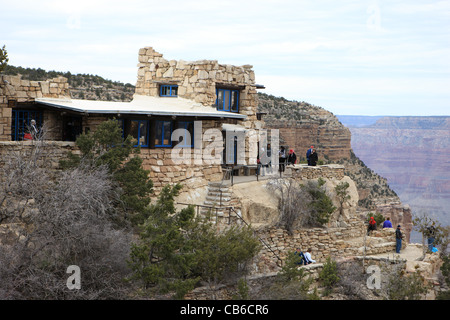 Lookout Studio perched on the south rim of the Grand Canyon National Park in Arizona USA - Stock Photo