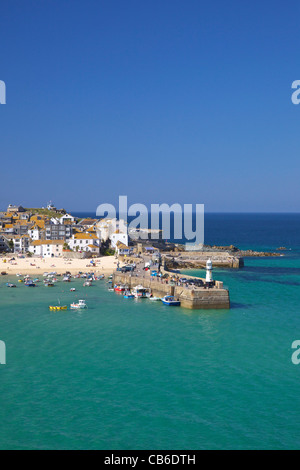 Old harbour in summer sunshine, St Ives, West Penwith, Cornwall, South West England, UK, United Kingdom, GB, Great - Stock Photo