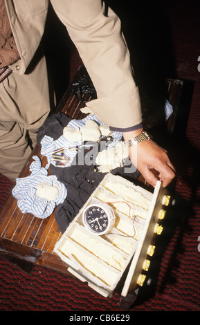 Illegal explosives used made by insurgents in Iraq. TNT, timing devices. Bombs go off almost every day in Iraq. - Stock Photo