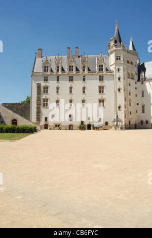 Inner courtyard of the castle of the dukes of Brittany in the old town of Nantes, Loire Atlantque, France - Stock Photo