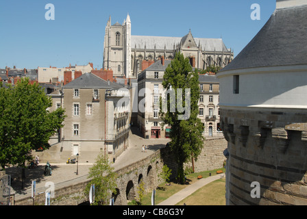 View from the castle f the dukes of Brittany towards the cathedral of St-Pierre-et-Paul in Nantes, Pays de la Loire, - Stock Photo