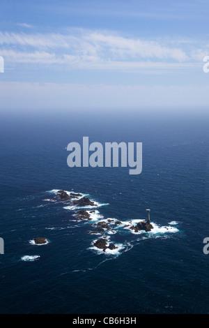 Aerial photo of Longships Lighthouse, Lands End Peninsula, West Penwith, Cornwall, England, UK, United Kingdom, - Stock Photo