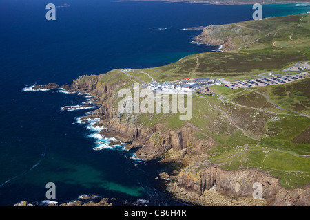 Aerial photo of Lands End Peninsula, West Penwith, Cornwall, England, UK, United Kingdom, GB, Great Britain, British - Stock Photo
