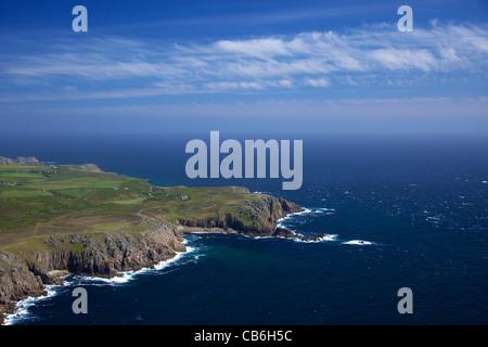 Aerial photo of Mill Bay, Nanjizal, Lands End Peninsula, West Penwith, Cornwall, England, UK, United Kingdom, GB, - Stock Photo