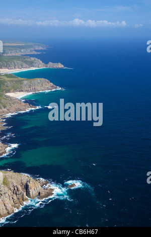 Aerial photo of Lands End Peninsula from Gwennap Head to Logan Rock, West Penwith, Cornwall, England, UK, United - Stock Photo