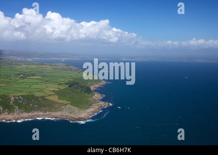 Aerial photo of coast between Lamorna and Mousehole, Lands End Peninsula, West Penwith, Cornwall, England, UK, United - Stock Photo