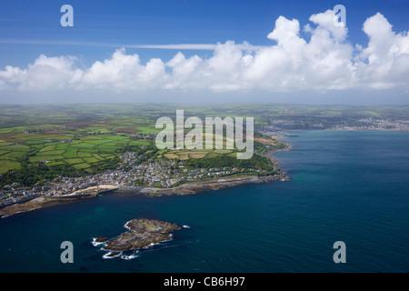 Aerial photo of  Mousehole and Penzance, Lands End Peninsula, West Penwith, Cornwall, England, UK, United Kingdom, - Stock Photo