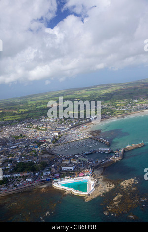 Aerial photo of  Penzance, Lands End Peninsula, West Penwith, Cornwall, England, UK, United Kingdom, GB, Great Britain, - Stock Photo