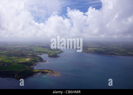 Aerial view of Helford River estuary in summer sun, Cornwall,Southwest  England, UK, United Kingdom, GB, Great Britain, - Stock Photo