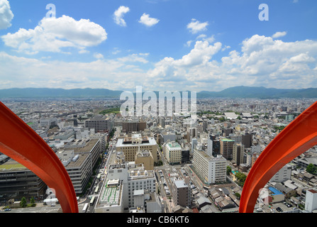 Aerial view of Kyoto, Japan. - Stock Photo