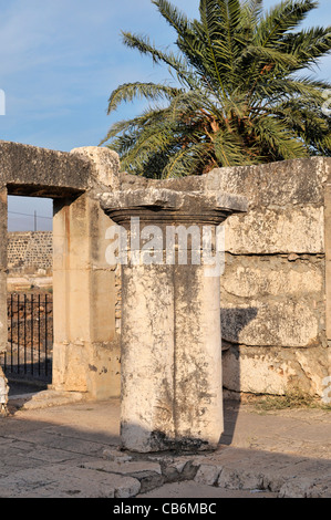 Detail on 4th century synagogue, Capernaum, Galilee, Israel,Asia, Middle East - Stock Photo