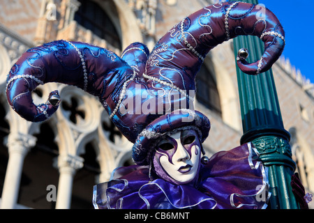 Man dressed as a carnival fool, Venice, Italy - Stock Photo