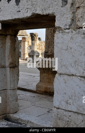 Ruins of 4th century synagogue,Capernaum, Galilee, Israel,Asia, Middle East - Stock Photo