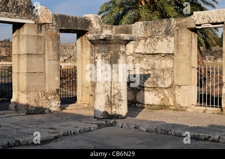 Fragment of 4th century synagogue,Capernaum, Galilee, Israel,Asia, Middle East - Stock Photo