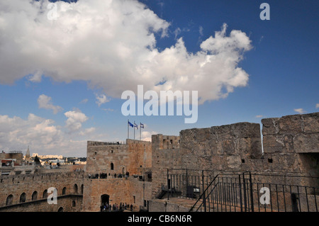 The fortified King David Citadel in Old city,Jerusalem, capital of Israel, Asia, Middle East - Stock Photo