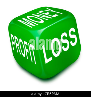 Green dice with the words MONEY, PROFIT and LOSS printed on its sides - Stock Photo