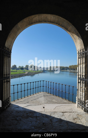 View of the Rhône river from within the St Nicholas chapel on Le Pont d'Avignon (Avignon Bridge), Avignon, Provence, - Stock Photo