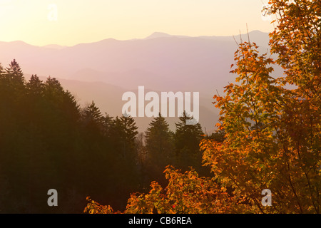 View of Smoky Mountains from Newfound Gap. - Stock Photo