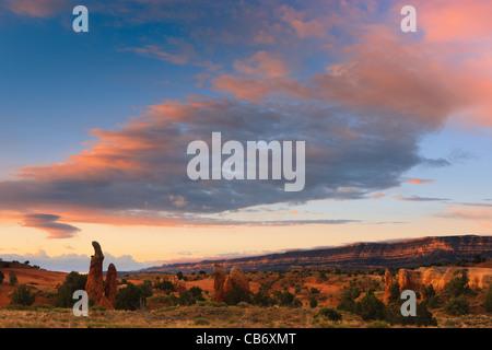 Devils Garden at sunrise near Escalante, Grand Staircase Escalante National Monument, Utah - Stock Photo