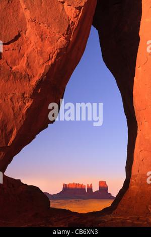 Teardrop Arch at sunset, Monument Valley, Utah - Arizona - Stock Photo