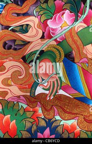 Green Tara thangka, hand detail. Nepal