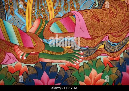 Green Tara thangka feet detail. painted in Nepal