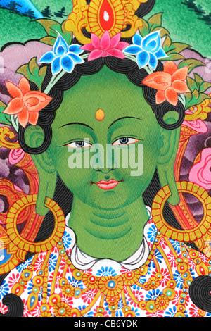 Green Tara thangka from Nepal. Painted in Nepal