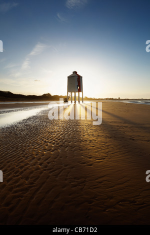 Wooden Lighthouse. Burnham-on-Sea. Somerset. England. UK. - Stock Photo