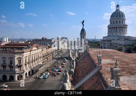 View of the Teatro Nacional de Cuba to the Teatro Payret, the Capitolio and the Paseo Marti, Havana (La Habana), - Stock Photo