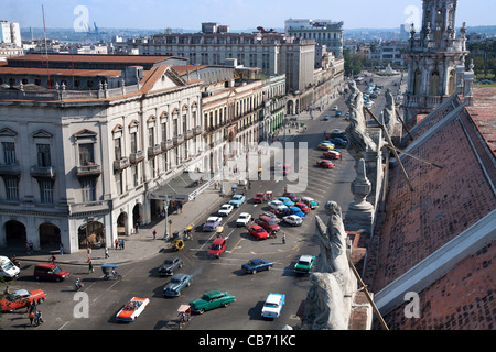View from the roof of the Teatro Nacional de Cuba to the Teatro Payret and the Paseo Marti,  Havana (La Habana), - Stock Photo