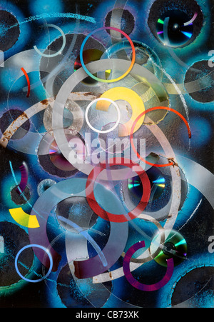 abstract picture painted by me, named 'Circles'. It shows a collage of various colorful circles, disks and ring - Stock Photo