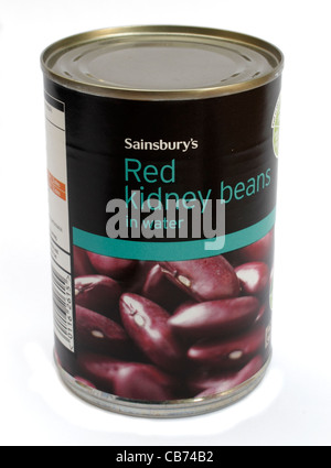 Tin of Sainsbury's own brand red kidney beans in water tinned food - Stock Photo