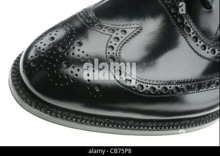 Men's City Black Brogue shoe - Stock Photo