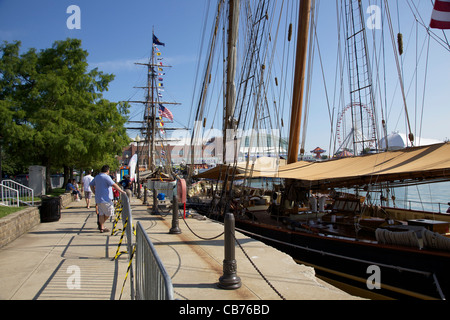 Pride of Baltimore and Niagara docked at Navy Pier, Chicago, Illinois. Tall Ships 2011. - Stock Photo