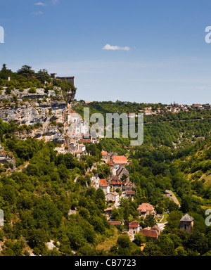 Cliff top town of Rocamadour in the Lot region of Southern France - Stock Photo