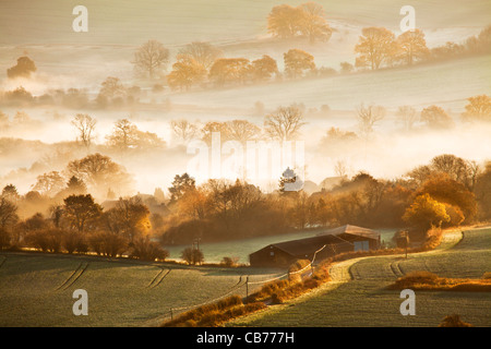 Anautumn sunrise view from Martinsell Hill over the Vale of Pewsey in Wiltshire, England, UK - Stock Photo
