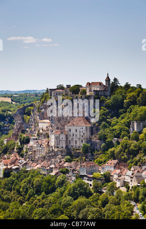 Rocamadour - famous French cliff top town in Lot Region, France, Europe - Stock Photo