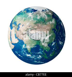 Globe showing the continent of Asia on planet earth - Stock Photo